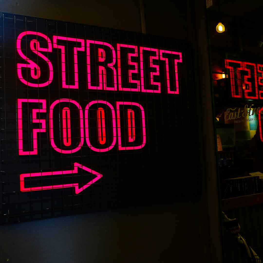 The Famous Street Food Neon Sign of East Street Restaurant London Fitzrovia